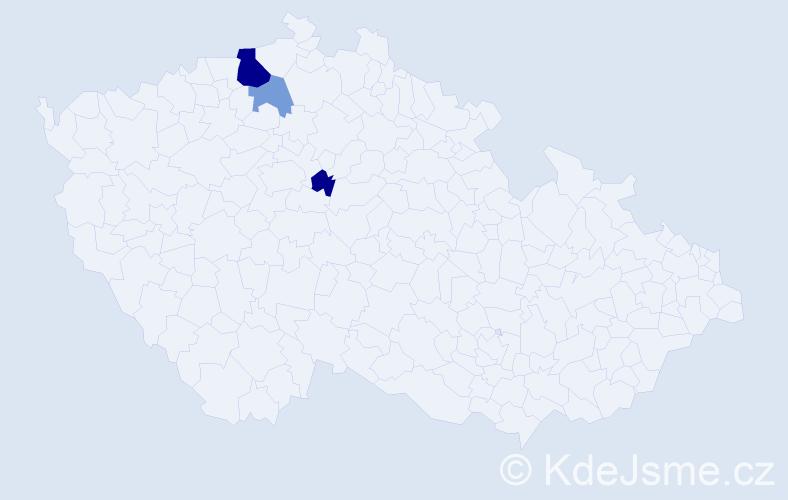Příjmení: 'Hajdlová', počet výskytů 7 v celé ČR