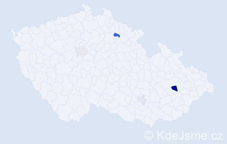 Příjmení: 'Kabeleová', počet výskytů 6 v celé ČR