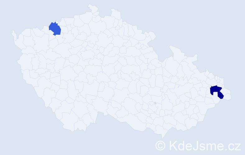 Příjmení: 'Cagášová', počet výskytů 3 v celé ČR