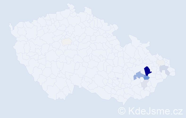 Příjmení: 'Čadrová', počet výskytů 36 v celé ČR