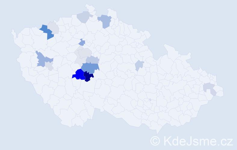 Příjmení: 'Budák', počet výskytů 52 v celé ČR