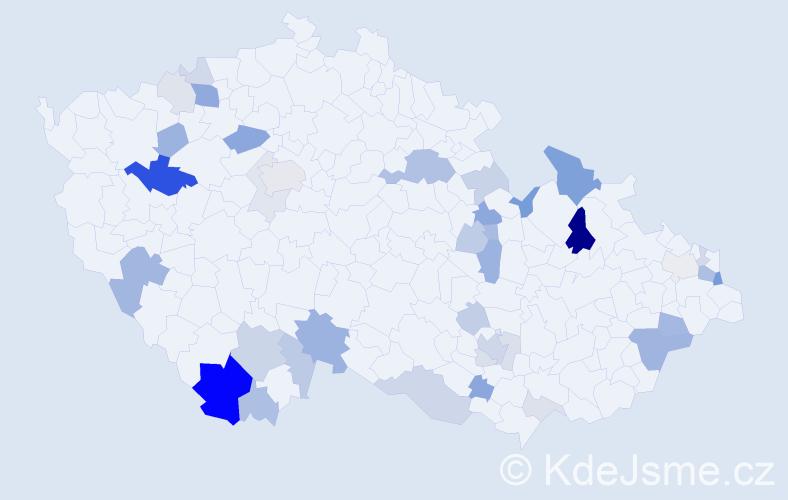 Příjmení: 'Furiková', počet výskytů 95 v celé ČR