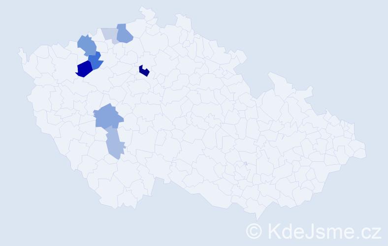 Příjmení: 'Gadžo', počet výskytů 18 v celé ČR