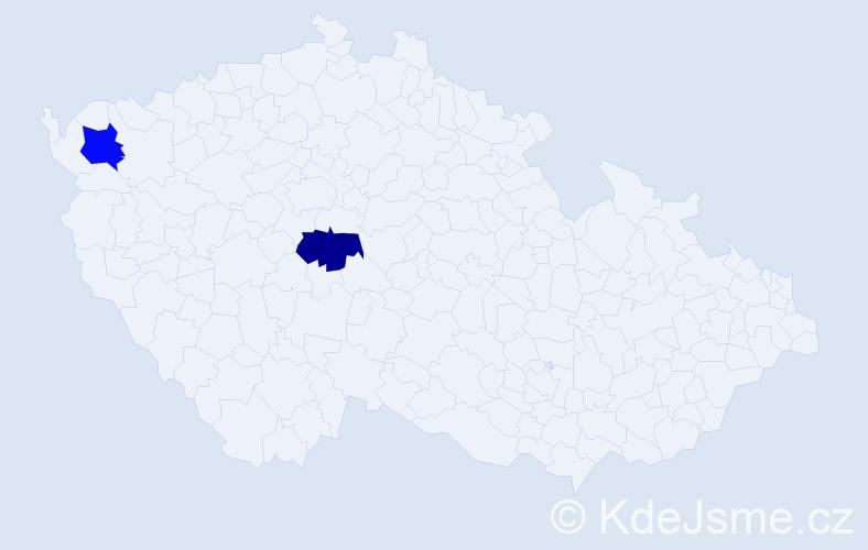 Příjmení: 'Dathe', počet výskytů 2 v celé ČR