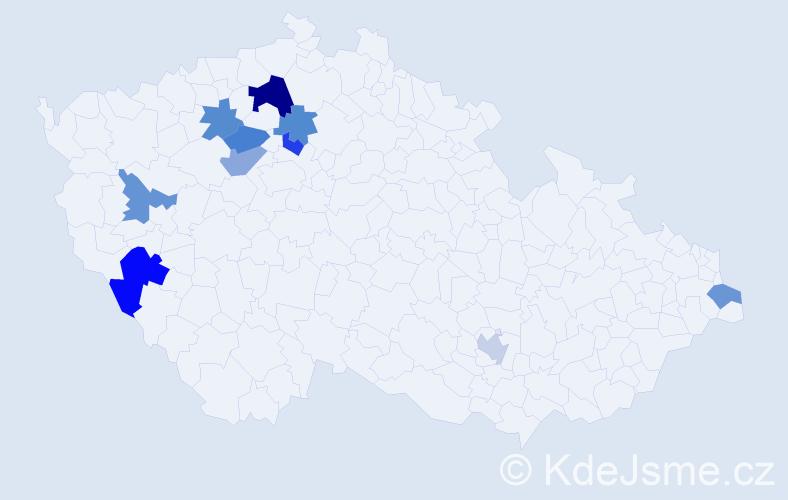 Příjmení: 'Guziová', počet výskytů 13 v celé ČR