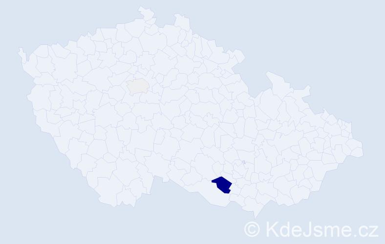 Příjmení: 'Blujová', počet výskytů 5 v celé ČR