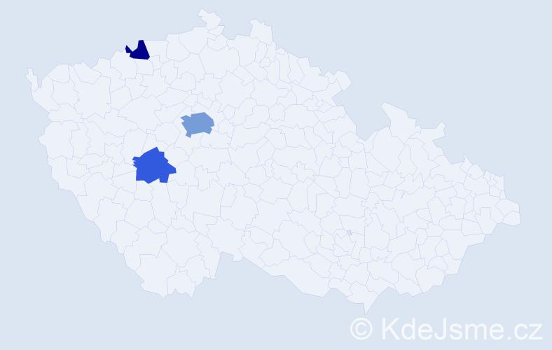 Příjmení: 'Agulár', počet výskytů 7 v celé ČR
