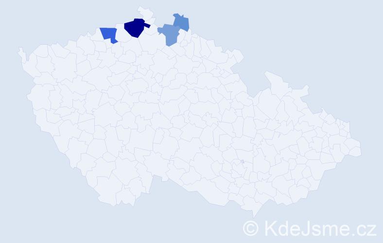 Příjmení: 'Baco', počet výskytů 16 v celé ČR