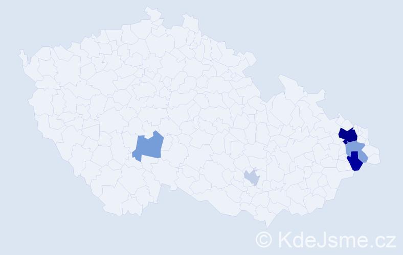 Příjmení: 'Bigošová', počet výskytů 13 v celé ČR