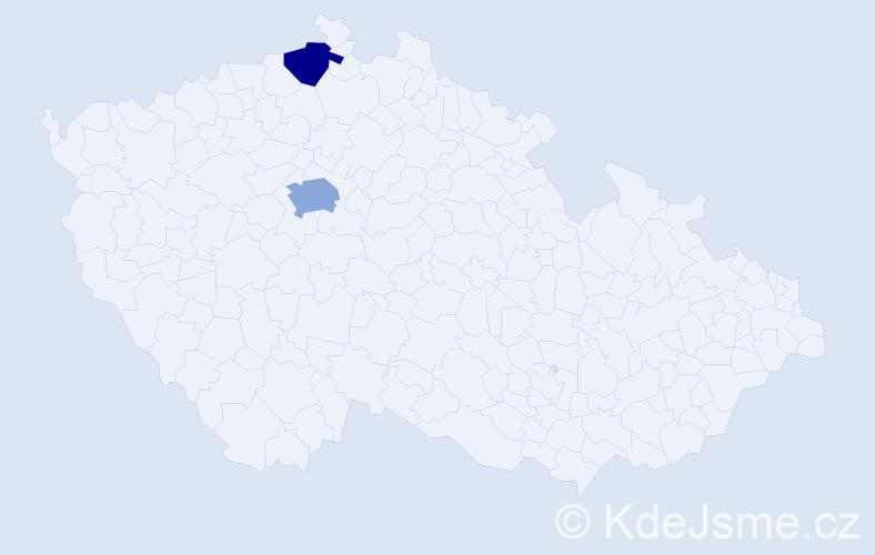 Příjmení: 'Kážmér', počet výskytů 3 v celé ČR