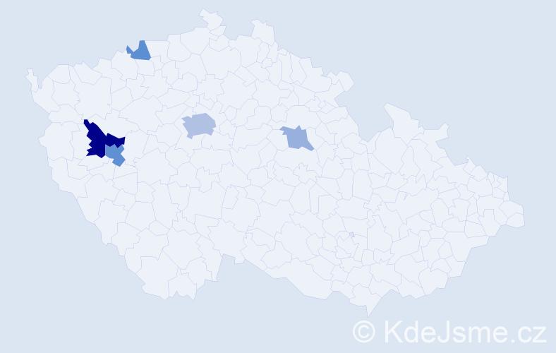 Příjmení: 'Karez', počet výskytů 13 v celé ČR