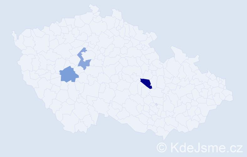 Příjmení: 'Gaštanová', počet výskytů 3 v celé ČR