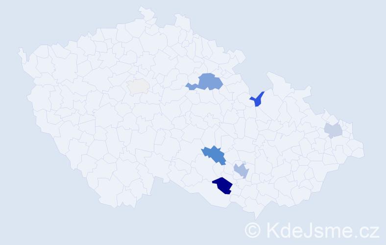 Příjmení: 'Čihal', počet výskytů 23 v celé ČR