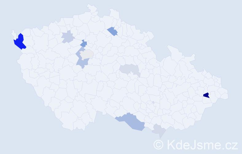 Příjmení: 'Čechvala', počet výskytů 31 v celé ČR