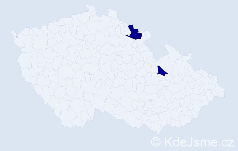 Příjmení: 'Čilliková', počet výskytů 3 v celé ČR