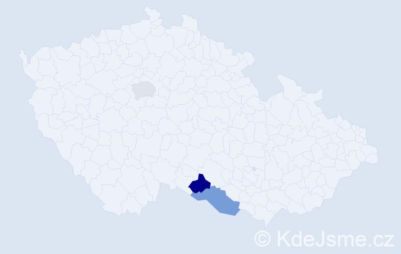 Příjmení: 'Klbečková', počet výskytů 3 v celé ČR