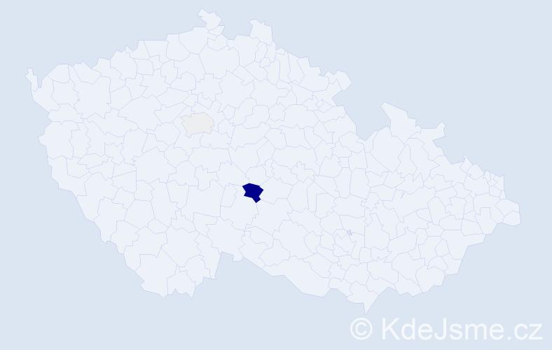 Příjmení: 'Čáberová', počet výskytů 14 v celé ČR