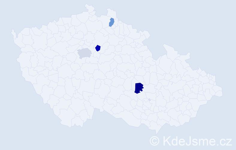 Příjmení: 'Kejklířová', počet výskytů 5 v celé ČR