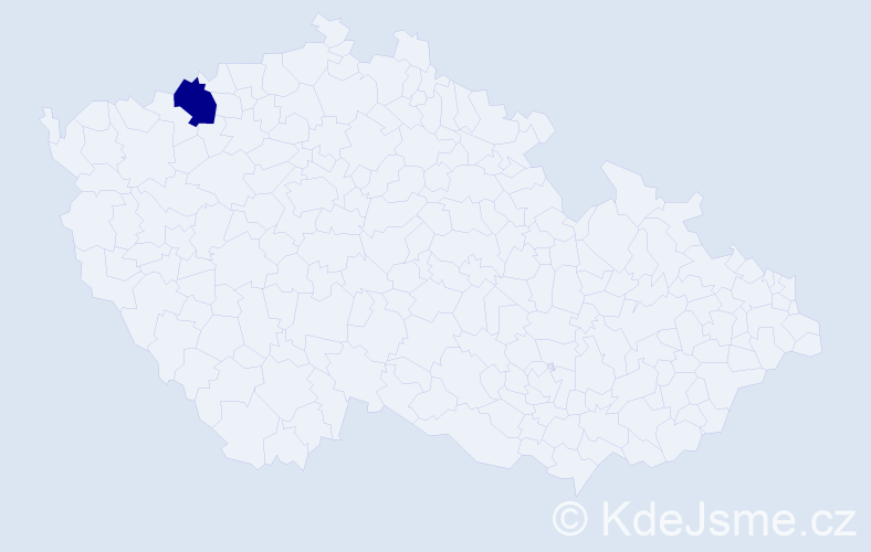 Příjmení: 'Haninčíková', počet výskytů 1 v celé ČR