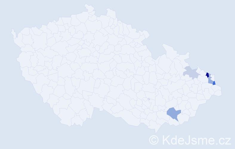 Příjmení: 'Kaspřáková', počet výskytů 12 v celé ČR