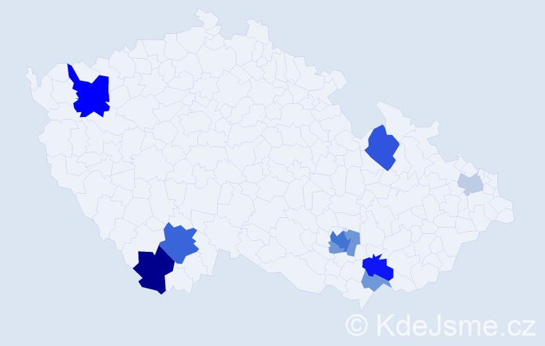 Příjmení: 'Bajnok', počet výskytů 21 v celé ČR