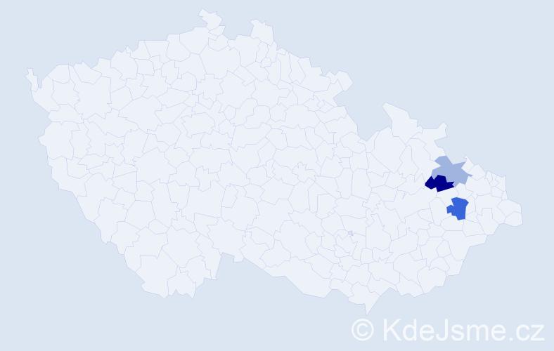 Příjmení: 'Gladyszová', počet výskytů 4 v celé ČR