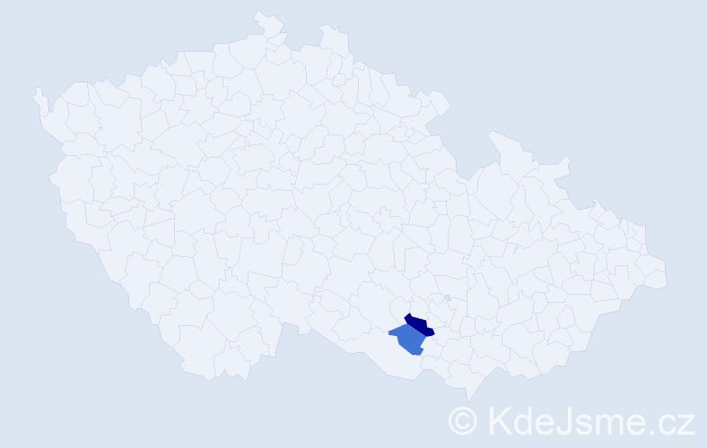 Příjmení: 'Ekel', počet výskytů 3 v celé ČR