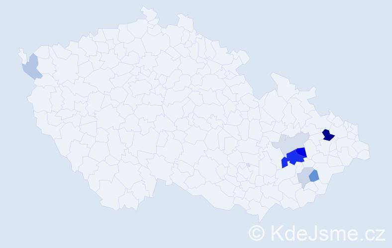 Příjmení: 'Cedidlo', počet výskytů 18 v celé ČR