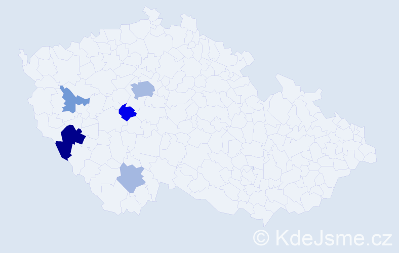 Příjmení: 'Ingeduldová', počet výskytů 12 v celé ČR