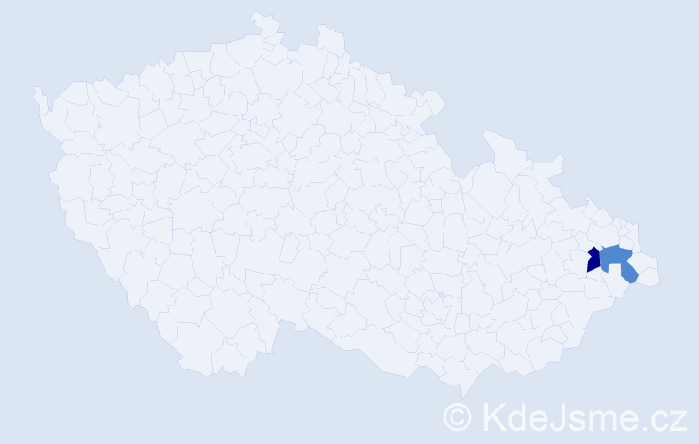 Příjmení: 'Lanák', počet výskytů 4 v celé ČR