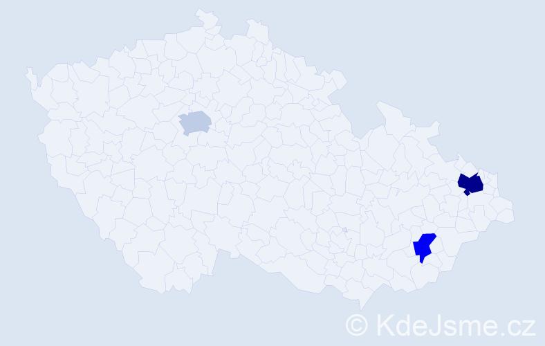 Příjmení: 'Čeliga', počet výskytů 5 v celé ČR