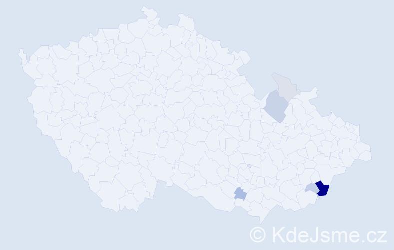 Příjmení: 'Fryzelka', počet výskytů 19 v celé ČR