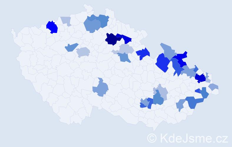 Příjmení: 'Dědicová', počet výskytů 86 v celé ČR