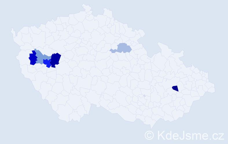 Příjmení: 'Hábr', počet výskytů 13 v celé ČR