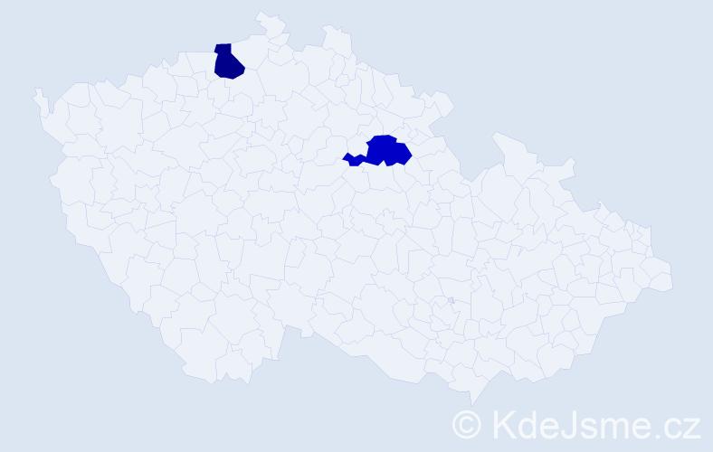 Příjmení: 'Enekešová', počet výskytů 2 v celé ČR