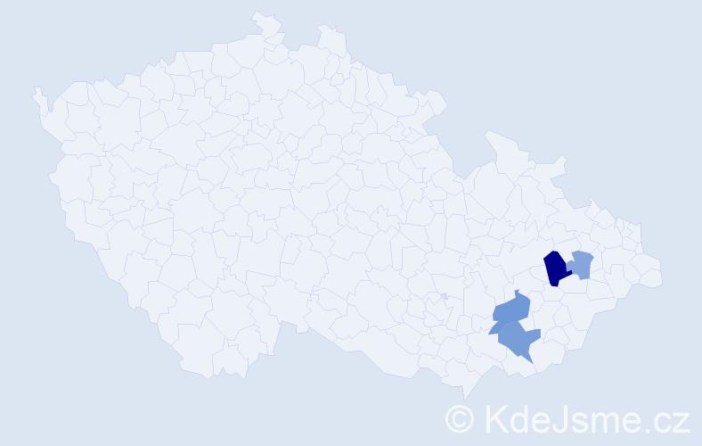 Příjmení: 'Kababiková', počet výskytů 8 v celé ČR