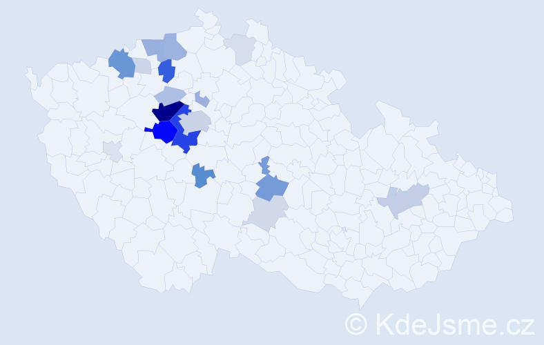 Příjmení: 'Lébr', počet výskytů 72 v celé ČR