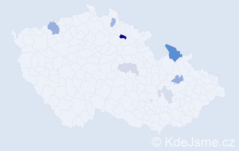 Příjmení: 'Gottštein', počet výskytů 15 v celé ČR