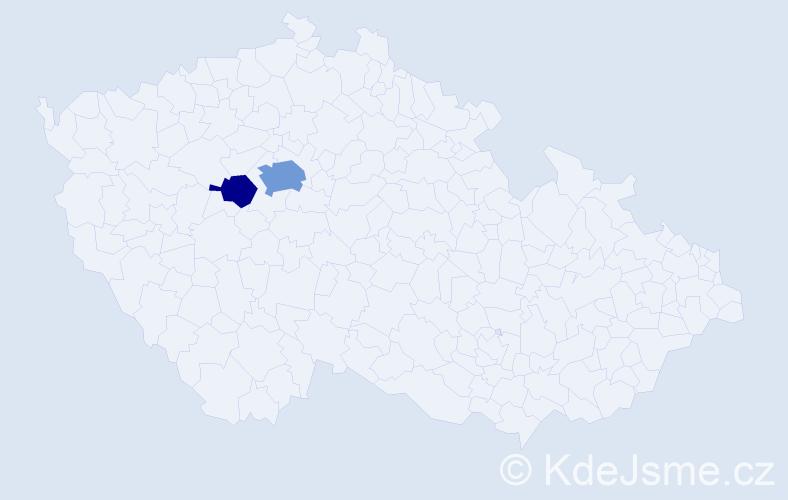 Příjmení: 'Deýl', počet výskytů 5 v celé ČR