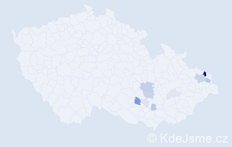 Příjmení: 'Galusek', počet výskytů 37 v celé ČR