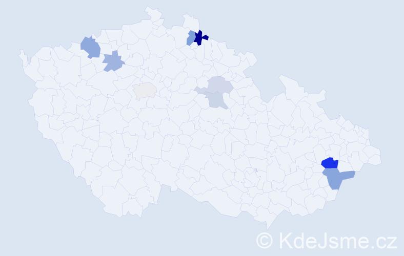Příjmení: 'Engeová', počet výskytů 17 v celé ČR