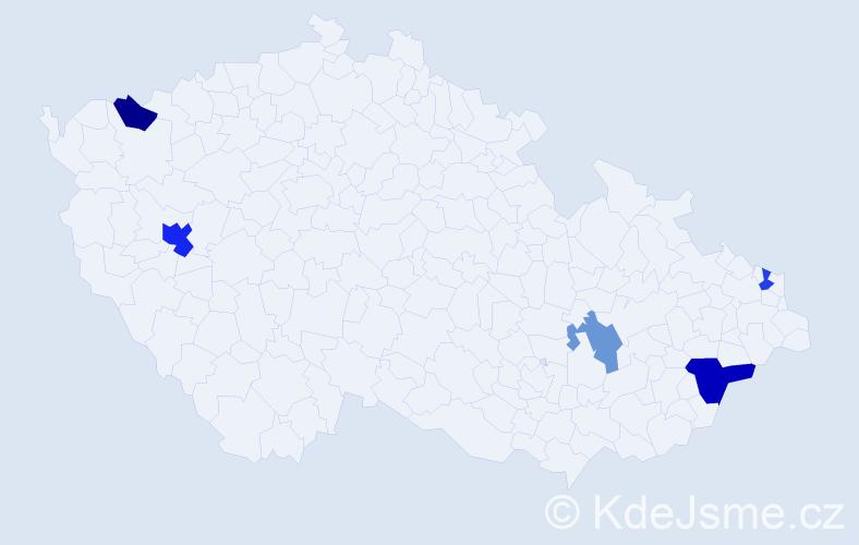 Příjmení: 'Čentéš', počet výskytů 8 v celé ČR