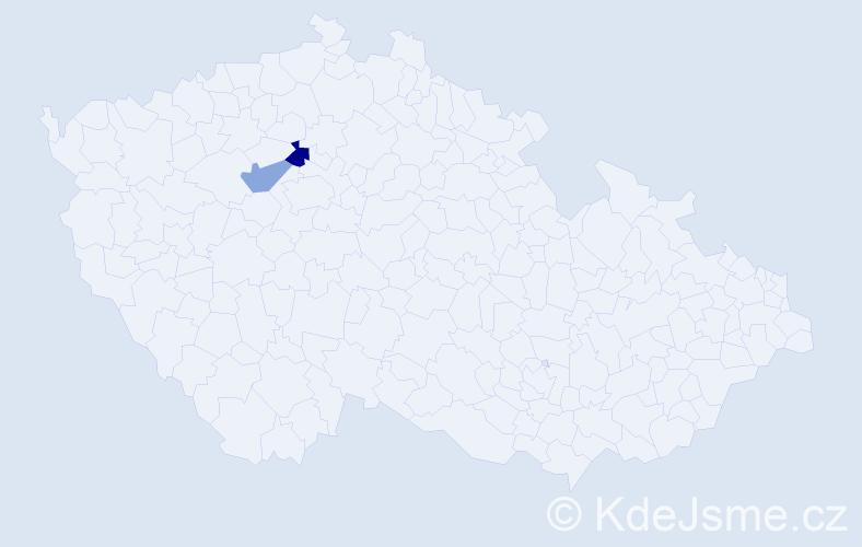 Příjmení: 'Hlavaňová', počet výskytů 5 v celé ČR