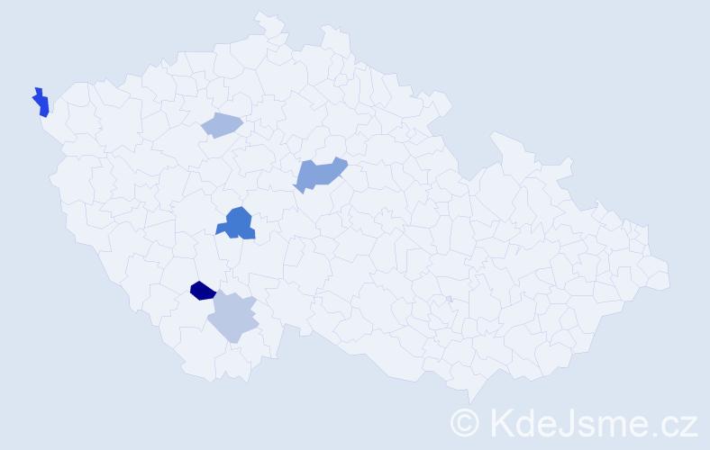 Příjmení: 'Ivančovová', počet výskytů 12 v celé ČR