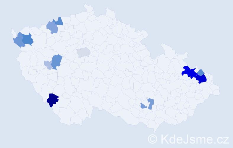 Příjmení: 'Janottová', počet výskytů 26 v celé ČR