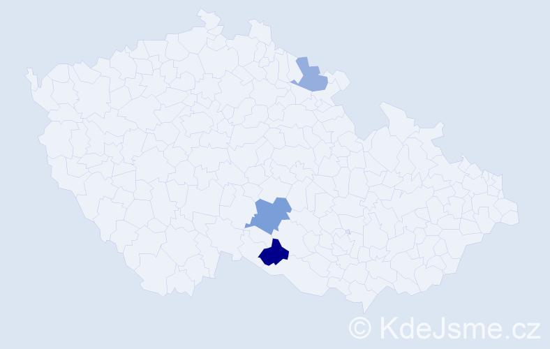 Příjmení: 'Kaluzsni', počet výskytů 5 v celé ČR