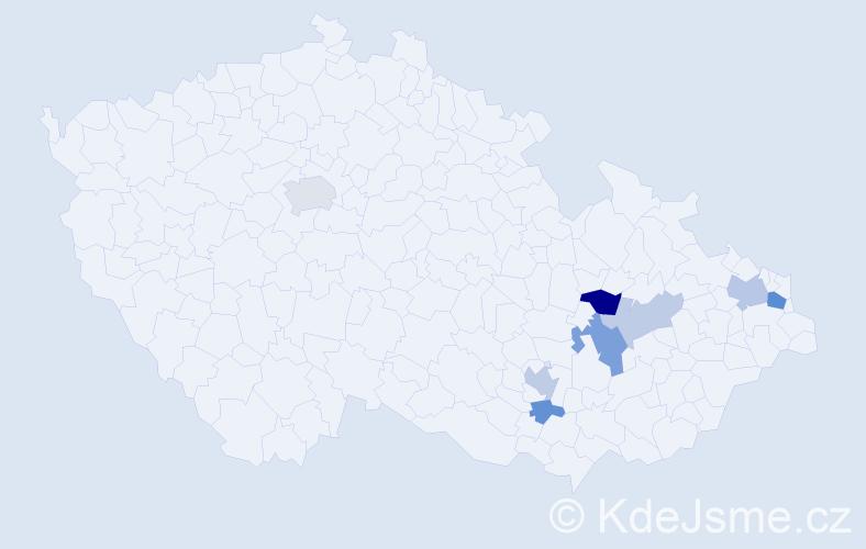 Příjmení: 'Hartelová', počet výskytů 15 v celé ČR