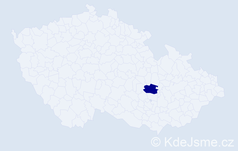 """Příjmení: '""""Bártová Pavelková""""', počet výskytů 1 v celé ČR"""