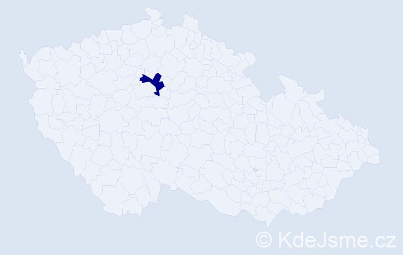 """Příjmení: '""""Kaymak Urbanová""""', počet výskytů 1 v celé ČR"""