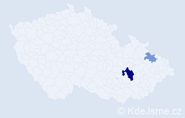 Příjmení: 'Bate', počet výskytů 4 v celé ČR